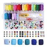 Abalorios de alfabeto de acrílico con 36 colores de hilo y herramientas para hacer pulseras de la amistad, para hacer pulseras, collares, joyas, 1900 unidades