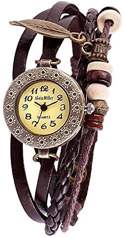 Damen Analog Armbanduhr mit Quarzwerk RP3705780001 und Metallgehäuse mit Echt Lederarmband in Braun Ziffernblattfarbe grün Bandgesamtlänge 19 cm Armbandbreite 14 mm