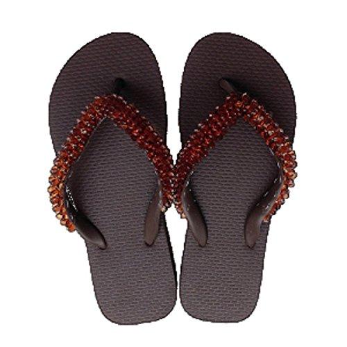 Designer Luxus Flip Flops-Chanclas made by Simone Herrera-Luxury Footwear-LISA-Riemchen Sandale Zehentrenner marron/braun