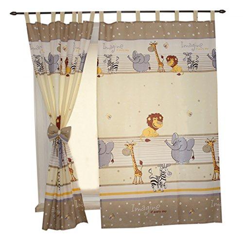 2er Set Gardinen Kinderzimmer Vorhänge mit Schlaufen und Schleifen 155x95 cm Dekoschal Schlaufenschal , Farbe: Imagine Beige, Größe: ca. 155x95 cm