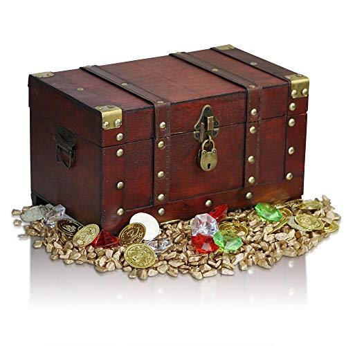 Brynnberg Schatztruhe groß Schatzkiste mit Schloss 28x17x16cm + Deko-Set Goldmünzen Goldnuggets Deko Diamanten Gefüllt Streudeko Dekokristalle Holztruhe Piraten Schatzsuche Holz Truhe