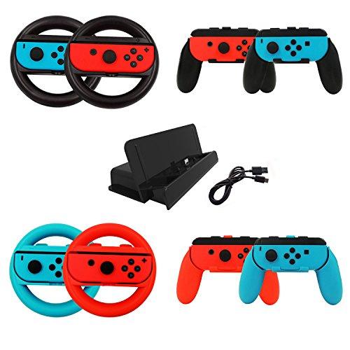 jadebones 10in 1Nintendo Switch Zubehör Kits Sets, Joy-Con Lenkrad und Joy Con Griff Griff für Joy-Con Controller, Charging Dock Ständer mit Typ C Kabel für Nintendo Schalter Konsole (Lenkrad-kits)