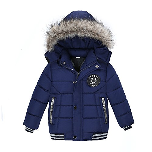 TTLOVE Mode Kinder Jacke Baby Jungen Mädchen Winter Dicken Mantel Gepolsterte Winterjacke Kapuzenjacke Kleidung(Marine,100 cm) -