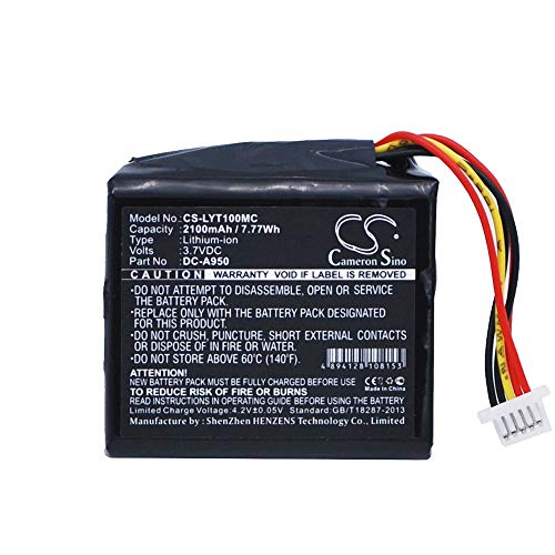 Ghpter Capacidad: 2100mAh, Velocidad: 7.77Wh, Voltaje: 3.7V, Voltaje: 7.2V, para LYTRO Illum A1 Illum F1 LYTRO DC-A950 (Color : Negro, tamaño : 36.56 x 34.63 x 17.16 mm)