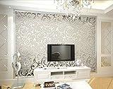 Europa HANMERO PVC-Tapete Relief Mustertapete 0,53m*10m Silbergrau für Schlafzimmer, Wohnzimmer, Hotel