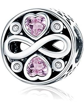Rosa Zirkonia Herz 925Sterling Silber Bead Charms Infinity Love zu Familie Christmas Gifts passend für europäische...