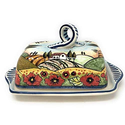 CERAMICHE D'ARTE PARRINI- Ceramica italiana artistica, burriera decorazione paesaggio papaveri, dipinto a mano, made in ITALY Toscana