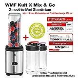 WMF Kult Mix & Go Testsieger Smoothie Mini Standmixer Leistung 300 W Sparset inkl. 1 Mixbehälter 600 ml und 2 Zusatzflaschen je 300 ml BPA-frei Smoothie Maker Cromargan matt/silber