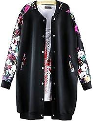 QZUnique Mujer Plus Jersey de béisbol floral impreso largo botón hasta negro