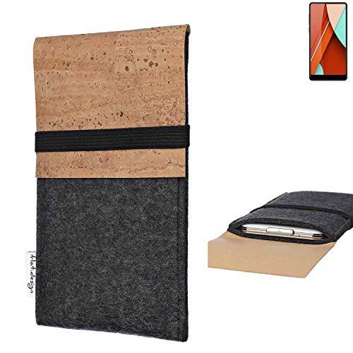 flat.design Handy Hülle SAGRES für Bluboo D5 Pro Made in Germany Handytasche Filz Tasche Schutz Case fair Kork