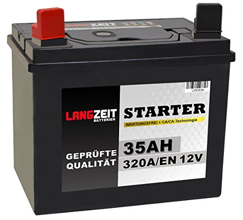 Preisvergleich Produktbild Langzeit Batterie 35Ah 12V Rasentraktor Starterbatterie Aufsitzmäher Rasenmäher Plus Pol links statt 26Ah 30Ah 32Ah