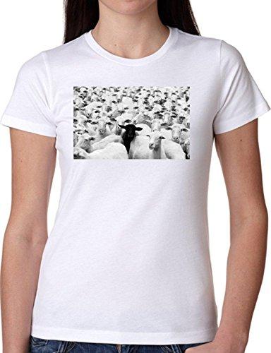 T SHIRT JODE GIRL GGG22 Z0269 SHEEPS BLACK WHITE WOOL FLOCK ANIMAL FUNNY FASHION COOL BIANCA - WHITE