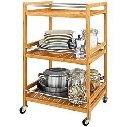 SoBuy® Estantería de cocina, carrito de cocina, estantería de baño de bambú con ruedas FKW11-N