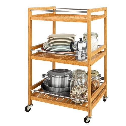 SoBuy Estantería de cocina, carrito de cocina, estantería de baño de bambú con ruedas FKW11-N