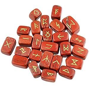 mookaitedecor Roter Jaspis Runen Steine Set (25 Stück) mit Geschenkbeutel, Trommelstein Edelstein mit schnitztem Runenzeichen für Wahrsagen, Kristall Heilung Reiki