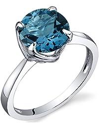 Revoni Bague Femme Solitaire - Argent fin 925/1000 - London Topaze Bleue 2.25 ct - Oxyde de Zirconium