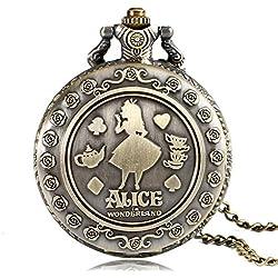 "ALICE IN WONDERLAND Brushed Bronze Effect Antiqued/Vintage Case Women's Quartz Pocket Watch Necklace - On 32"" Inch / 80cm Chain"