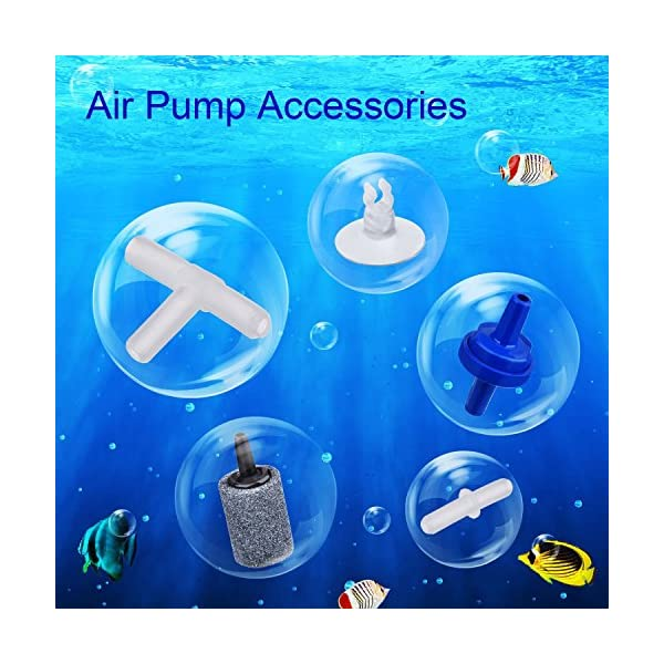 6.5 Feet Standard Airline Tubing Air Pump Accessories for Fish Tank, 2 Bubble Release Air Stones, 2 Check Valves, 4…