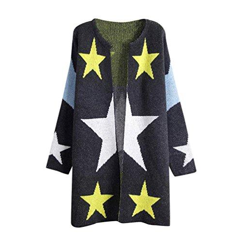 YouPue Donna Knit Cardigan Maniche Lunghe Stampa Della Stella Maglia Cardigan Maglioni Jacket Tops Inverno Autunno Caldo Grigio Scuro