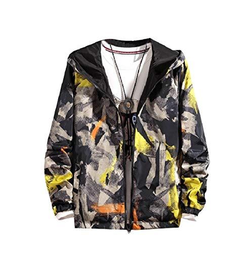 CuteRose Men Hoode Reversible with Zips Camouflage Color Jackets Coats Yellow S Plus-size-reversible Coat