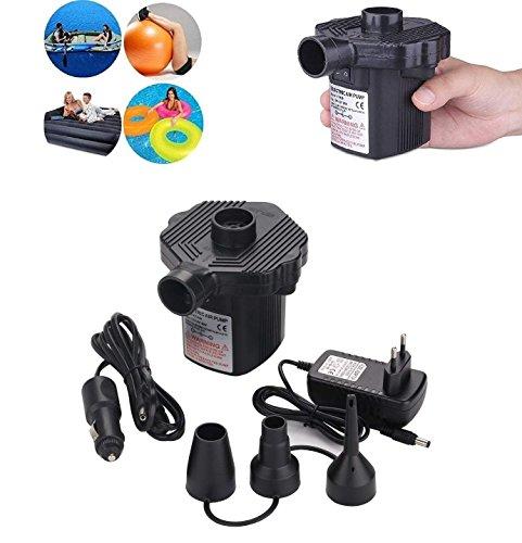 Anicoll Elektrische Luftpumpe, 2 in 1 Elektropumpe für Heim- und Automobil/Aufblasen und Entblasen mit 3 Luft Düse, Luft Pumpe für Luftmatratzen, Schlauchboote, Schwimmenring, AC 220V / DC 12V