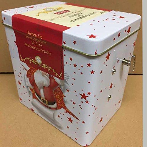 Preisvergleich Produktbild Lambertz 200g Musikdose Spieluhr mit Lebkuchenmischung (Motiv Weiss mit roten Sterne und Weihnachtsmann) Weihnachtsmelodie