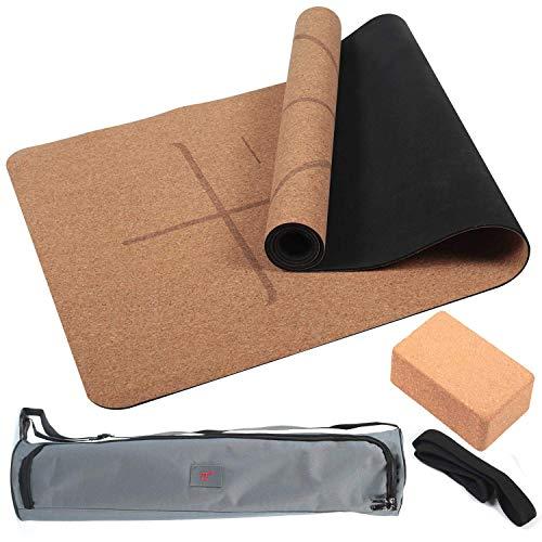 Jolitac Yogamatte Yoga Matte Set Gymnastikmatte Yoga Mat Kit Rutschfest Kork mit Yogatasche Yogagurt und Yoga Block für Anfänger