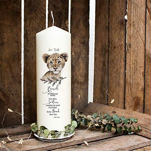 ilka parey wandtattoo-welt Taufkerze Kerze zur Taufe oder Geburt Kommunionkerze Löwe mit Spruch Wunschname & Datum wk91