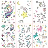 Fancyku Unicorn Temporary Tattoos for Kids Birthday Party Perfect for Girls Unicorn Party Favors Supplies (6 Sheets) (Style 2)