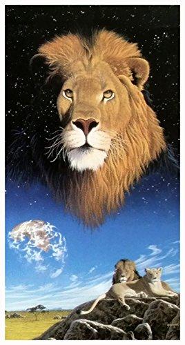 Badetuch, Strandtuch, Saunatuch - Löwe - Motiv: Löwe - Löwen Paar - 100 % Baumwolle - Grösse: ca. 150 x 75 cm - ca. 360 Gramm pro Stück schwer