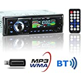 KYG Auto Radio Coche Bluetooth Estéreo AM FM In-Dash USB SD Reproductor Audio MP3 WMA WAV Pantalla LCD DC12V