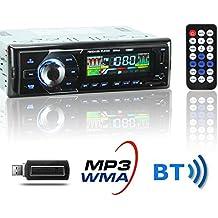 KYG Auto Radio Coche Bluetooth Estéreo AM FM In-Dash USB SD Reproductor Audio MP3 WMA WAV Pantalla LCD DC12V