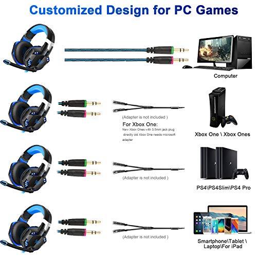 Gaming Kopfhörer für PS 4 PC Computer Professioneller 3,5mm Gaming Headset Stereo Sound Mikrofon mit Rauschunterdrückung und Lautstärkeregler Egonomisches Design, geringes Gewicht (Blau) - 5