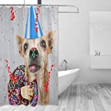 YULIANGE Animal Shower Curtain Dog with Donut Shower Curtains Eco-Friendly Polyester Fabric Curtains for Bathroom-130 * 200Cm