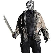 Máscara de halloween de Jason con machete y sable careta del horror asesino cuchillo arma traje terror