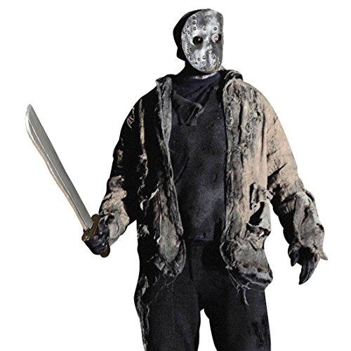 NET TOYS Jason Maske und Machete Halloweenmaske und Säbel Horrormaske und Messer Mörder Waffe Halloween Hockeymaske Horror Kostüm (Jason Kostüm)
