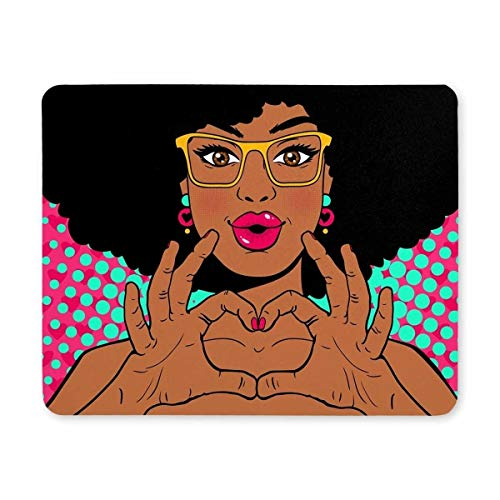 Gaming Mouse Pad, Gaming Mouse Pad - Mousepad Design Junge afroamerikanische Frauen - Küsse und Lippen Formen Afro - Brille Natur Dauerhaft in Computer - Maus.