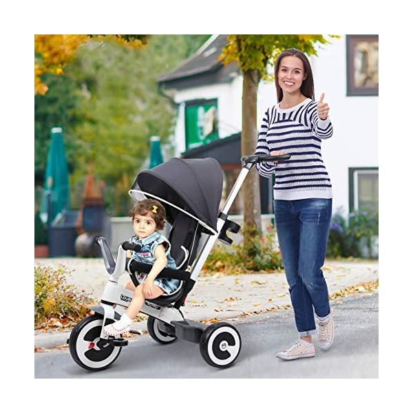 Yuldek - Baby Tricycle Children's 4-in-1 Trikes Kids Stroller W/Canopy Dark Grey - 4-in-1 Tricycle for 18 Months and Above - Tricycle with Canopy and Back Support YulDek Easy Control Brakes - The two independent brakes on the back wheels of this tricycle make it convenient for parents to control and stop the tricycle whenever they want. Storage Basket - This 4-in-1 trike for babies has a storage basket at the back to carry your kids' toys or to store essentials. Adjustable Canopy - Removable and adjustable canopy of this kids cycle offers your kids with alternative choices of protecting them from UV or enjoying the sunshine. 4