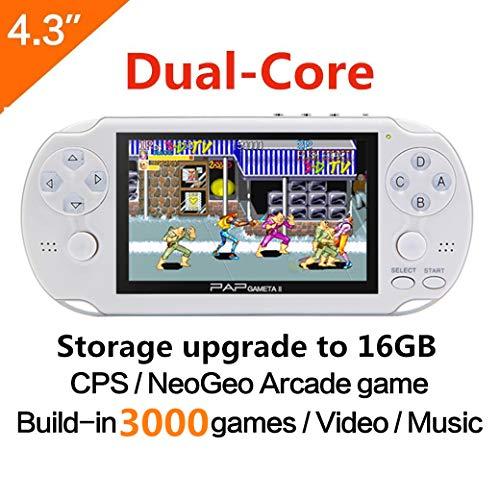 64-Bit-Handspiel -Konsole 4.3 Zoll Built-in 650no Repeat Classic Game Unterstützung AV-Kabel tragbare Spielkonsolen Surpport CPS / NEOGEO / GBA / SFC / MD / FC / GBC / SMS / GG / GB Arcade-Spiele und Video-Musik-Kamera (weiß)