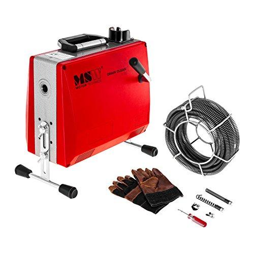 MSW-DRAIN CLEAN 2.3E Rohrreinigungsgerät Rohrreinigungsspirale 390 W 400 U/min für Rohre mit Ø 30 bis 100 mm Rohrreinigungsmaschine Spiralen und Werkzeug mit Ø 16 mm - T-Nut Kupplung