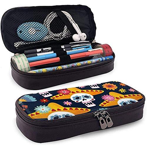 Dia De Los Muertos Gruß Leder 3D Nano gedruckt Federmäppchen Tasche mit Reißverschluss niedlichen Stift Federmäppchen Box, große Kapazität Briefpapier Box -