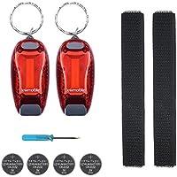kwmobile Set de 2 Luces LED de Seguridad - luz para Running - para Brazalete Casco Pulsera - luz Reflectante de Alta Visibilidad - COB en Rojo