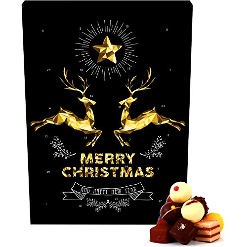 Hallingers 24 Pralinen-Adventskalender, mit/ohne Alkohol (300g) - Goldene Elche