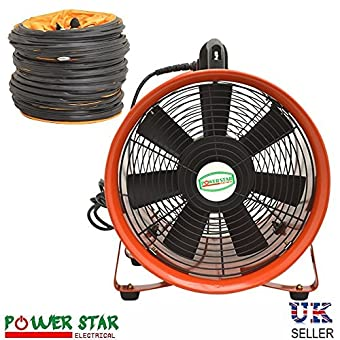 "NEW Portable Ventilateur d'extraction d'air axial Ventilateur en métal Industriel Atelier 110 V Heavy Duty Commercial Air Ventilateur avec conduit 12 40,6 cm 12"" Inches - 300mm ( With Duct )"
