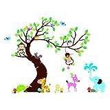 1pcs Wandsticker Tiere Baum Rankenpflanze f¨¹r Kinder Kinder DIY-entfernbare Wand Dcorazione House Hotel Restaurant Schlafzimmer