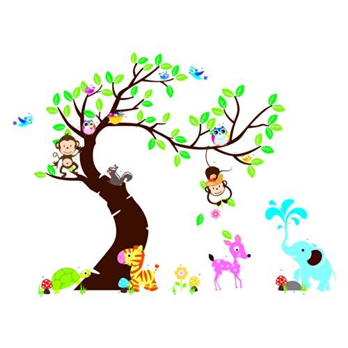 rainbow-fox-jungle-zoo-animales-monos-juegan-en-las-etiquetas-adhesivas-scroll-vinilos-de-pared-para