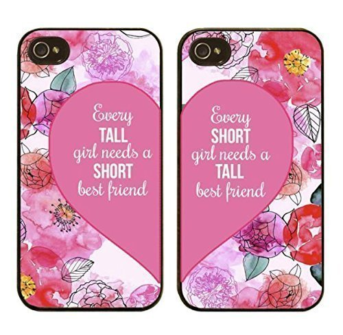 Preisvergleich Produktbild iPhone 5, Set of 2, BFF Best Friends Forever Lover Snap on Rubber Case Cover for Apple iPhone 5 5S (Every Tall or Short Girl Needs Short or Tall Best Friend)