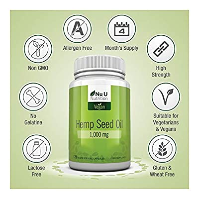 Hemp Seed Oil Softgels 1000mg Vegan | Hemp Oil Cold Pressed 120 Softgels 4 Month Supply | High Strength Vegan and Vegetarian Hemp Seed Oil Supplement with Omega 3 & Omega 6 | Made in the UK by Nu U Nutrition
