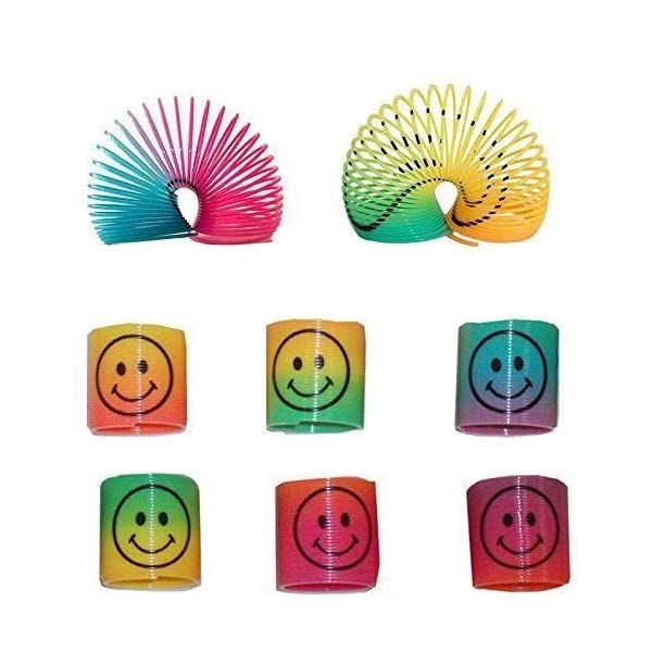12 Mini Rainbow Smiley Face Springs Slinky Pinata Party Loot Bag Fillers Toy, Multi 514Rb 2Br 2B9ZL