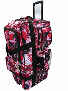 Wheeled Holdall 30 inch Floral Luggage Bag on Wheels 605F Pink